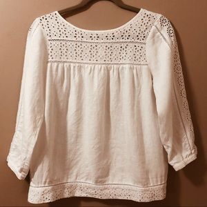 J. Crew 3/4 Sleeve Eyelet Detail Top